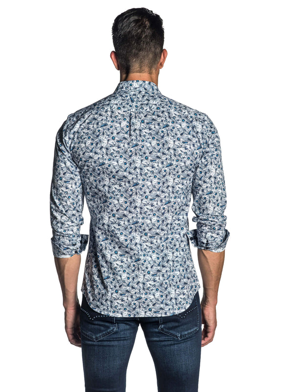 Blue Floral Shirt for Men AH-T-7011 - Back - Jared Lang