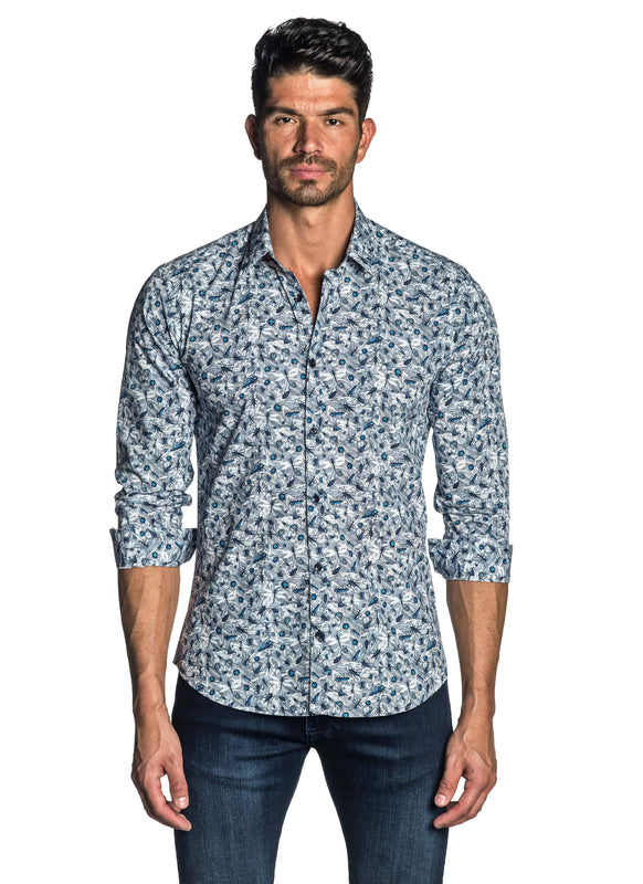 Blue Floral Shirt for Men AH-T-7011 - Front - Jared Lang