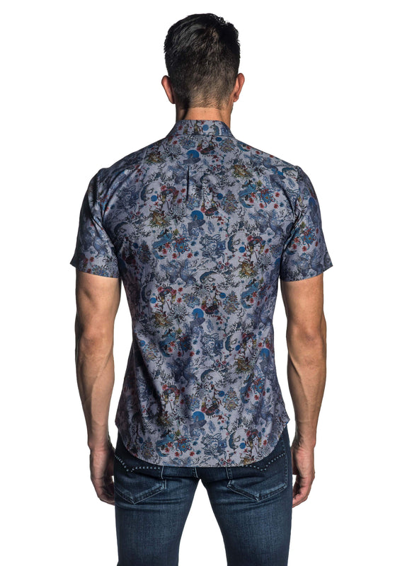 Navy Geisha Printer Short Sleeve Shirt for Men - back AH-T-7012-SS - Jared Lang