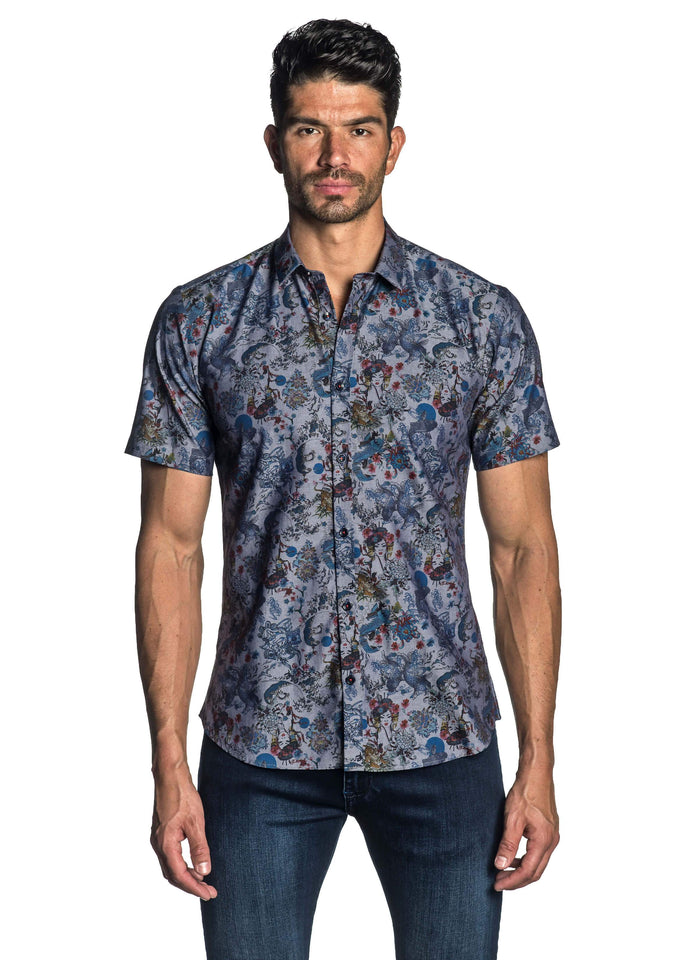 Navy Geisha Printer Short Sleeve Shirt for Men - front AH-T-7012-SS - Jared Lang