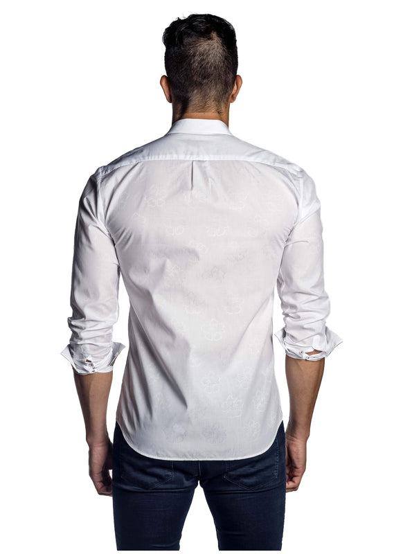 White Jacquard Solid Shirt for Men AH-T-7022 - Back - Jared Lang