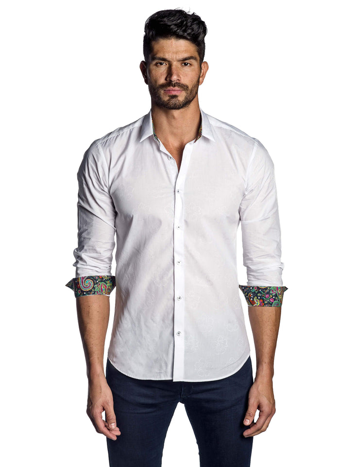 White Jacquard Solid Shirt for Men - front AH-T-7022 - Jared Lang
