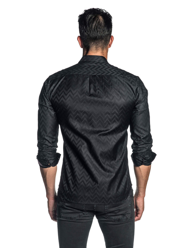 Black Jacquard Shirt for Men AH-T-7025 - Back - Jared Lang