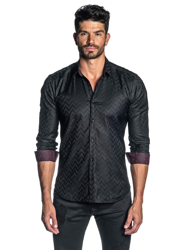 Black Jacquard Shirt for Men AH-T-7025 - Front - Jared Lang