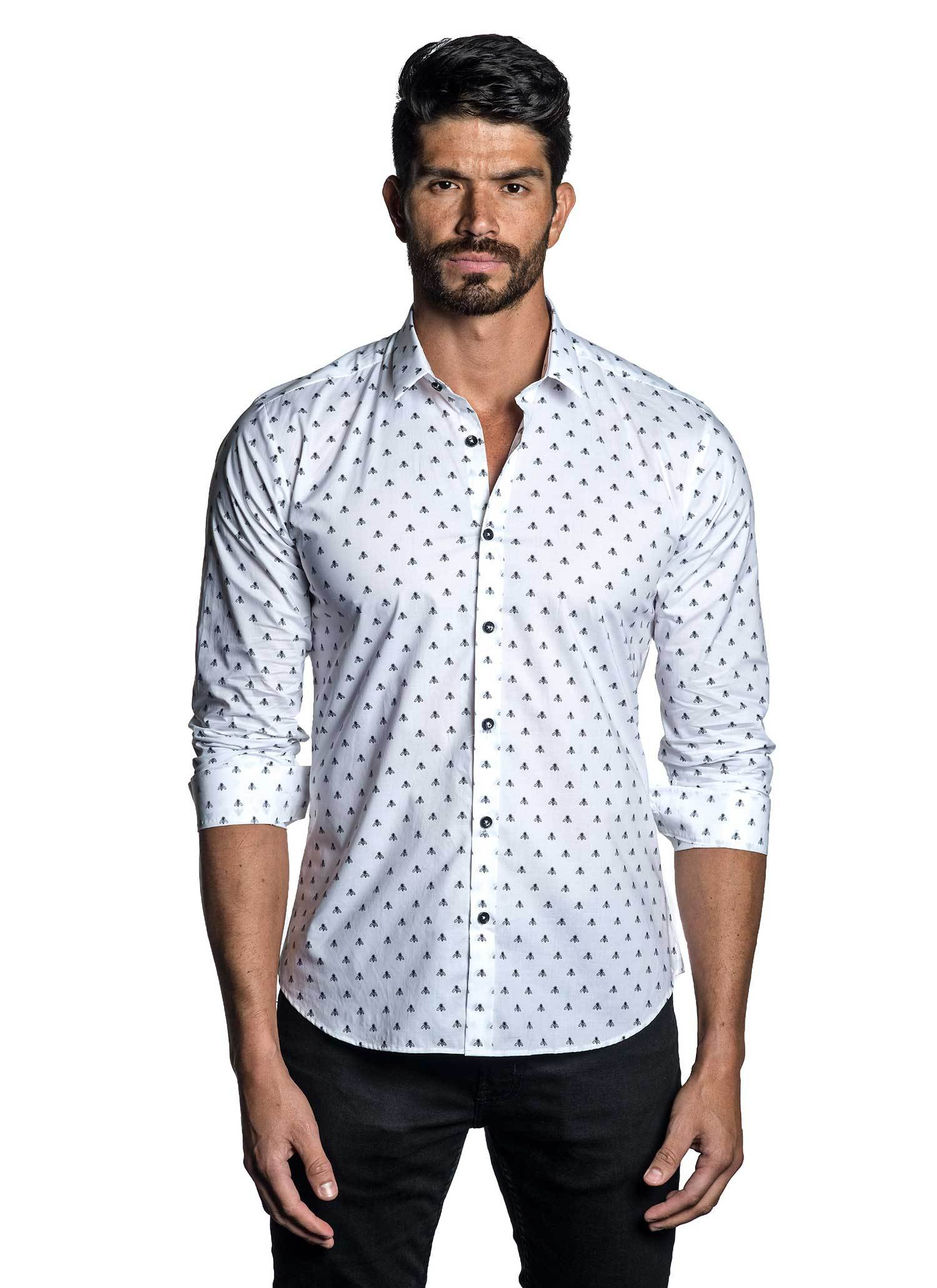 White and Black Jacquard Shirt for Men - front AH-T-7033 - Jared Lang
