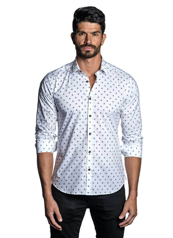 White Black Bee Jacquard Shirt for Men AH-T-7033 - Front - Jared Lang