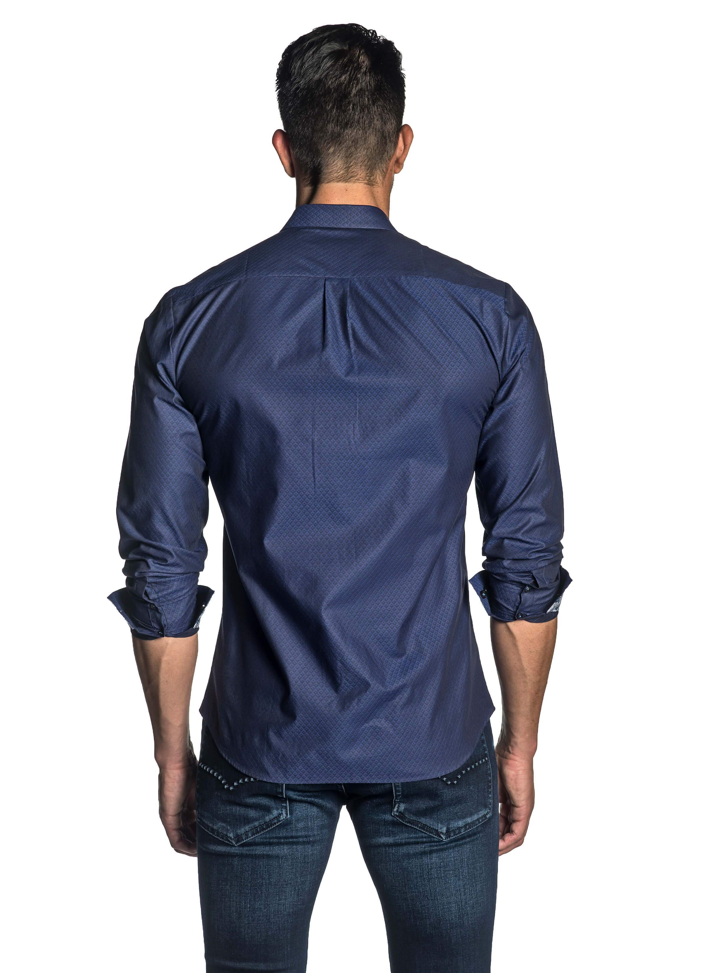 Navy Jacquard Shirt for Men - back AH-T-7040 - Jared Lang