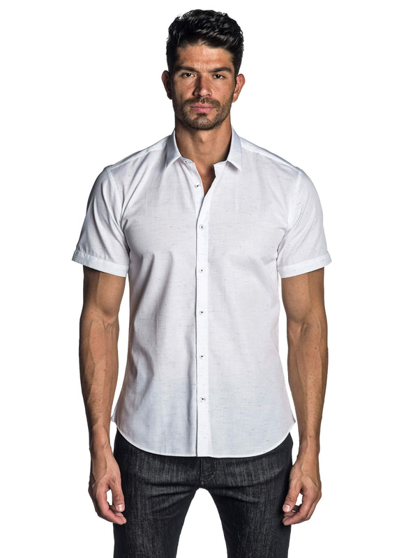 White Solid Short Sleeve Shirt for Men AH-T-7041-SS - Front - Jared Lang