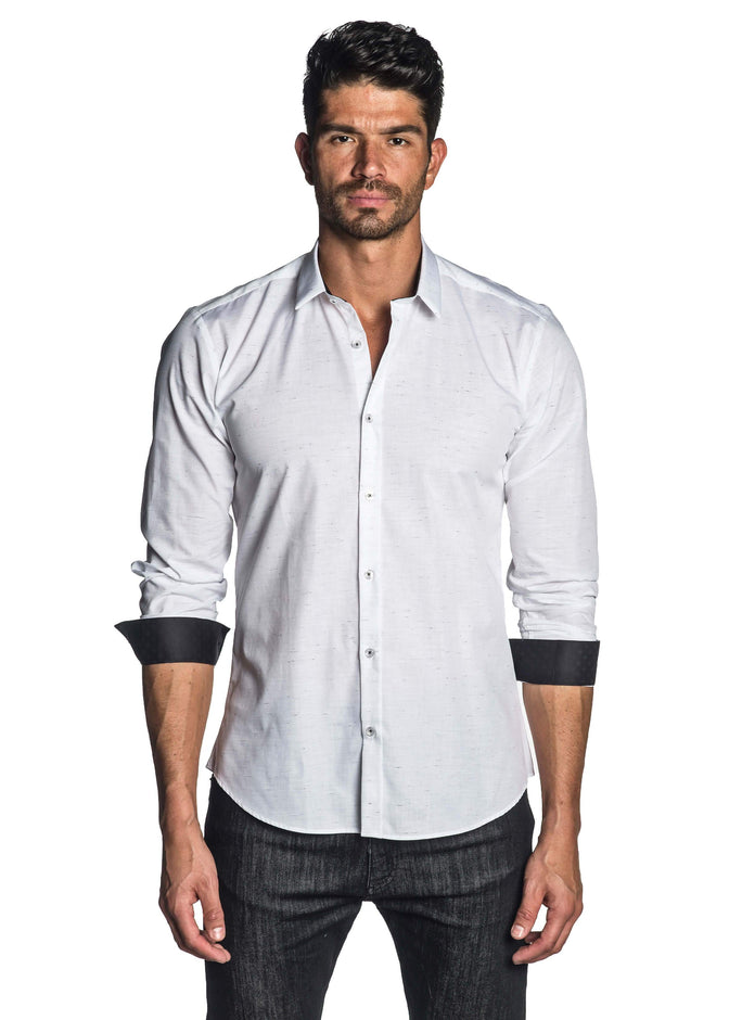 White Solid Shirt for Men - front AH-T-7041 - Jared Lang