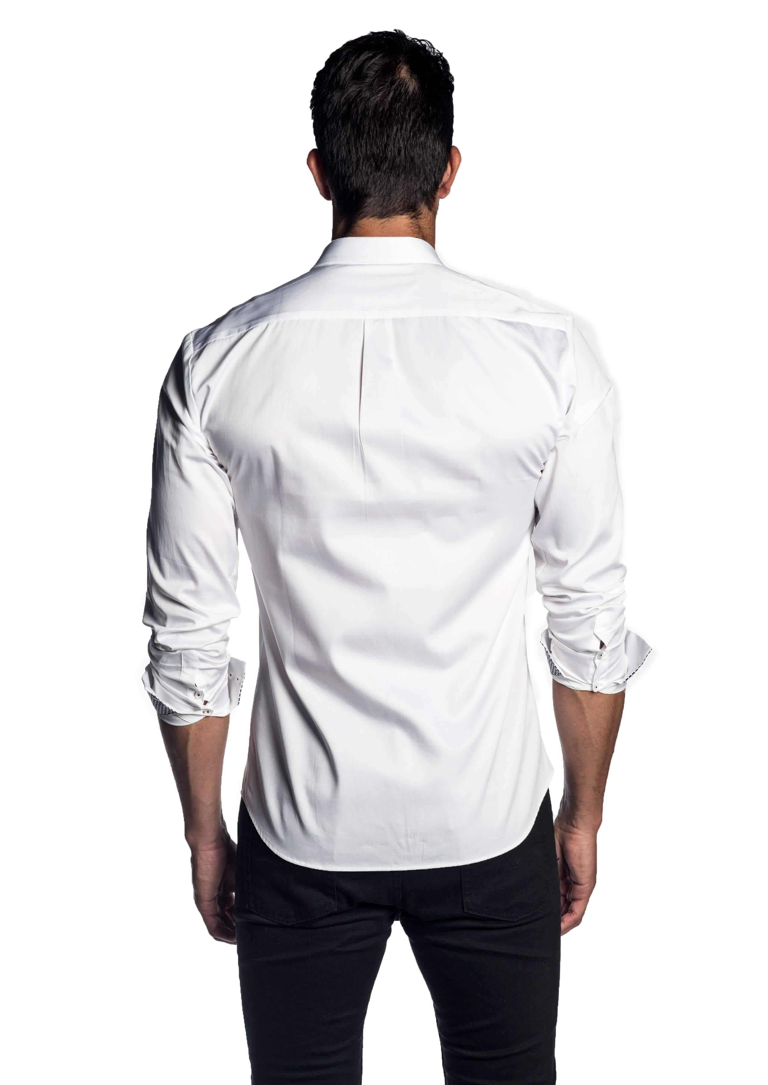 White Solid Shirt for Men - back AH-T-7058 - Jared Lang Collection