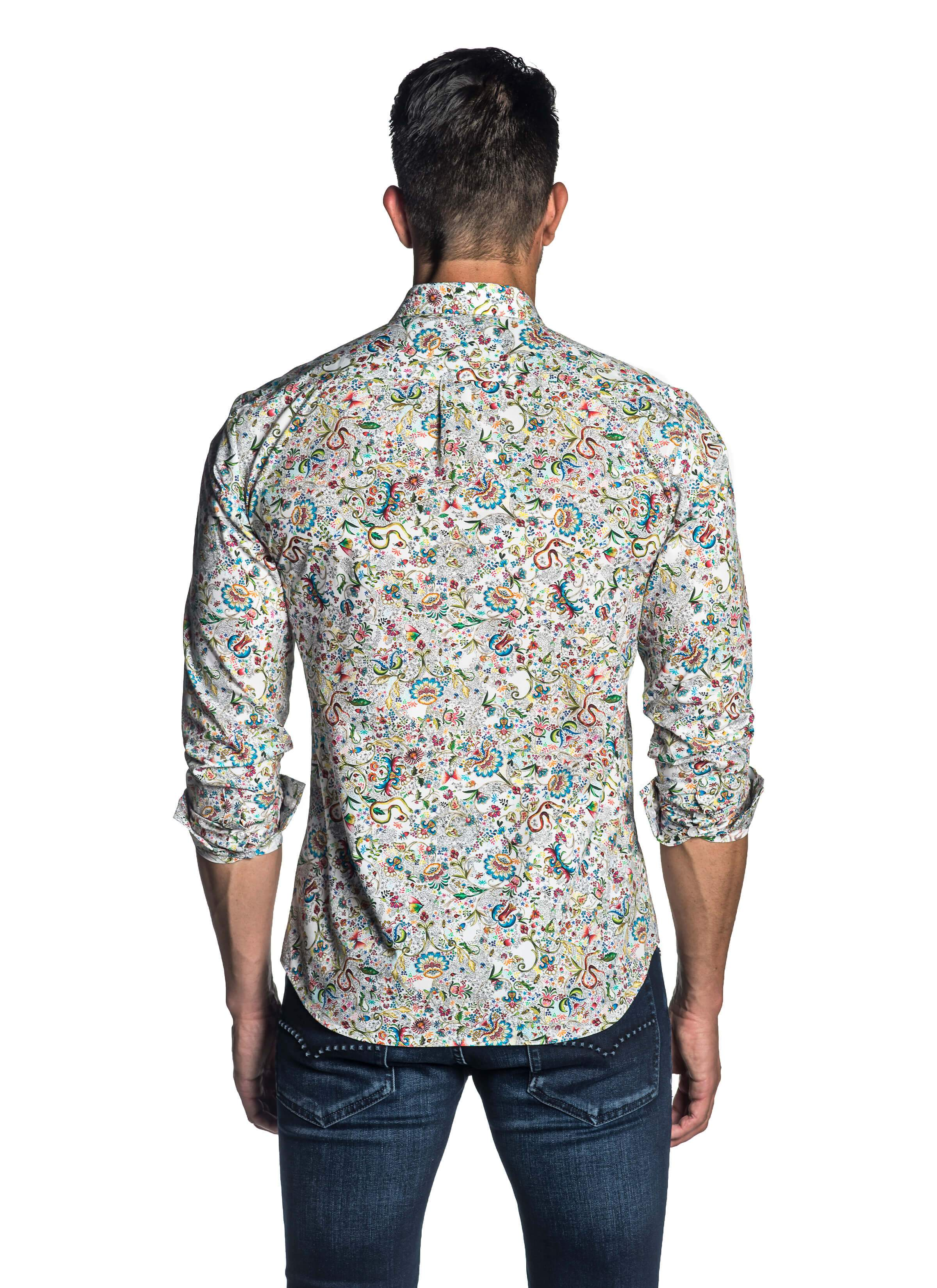 White Multi-colored Floral Degrade Shirt - back AH-T-7063