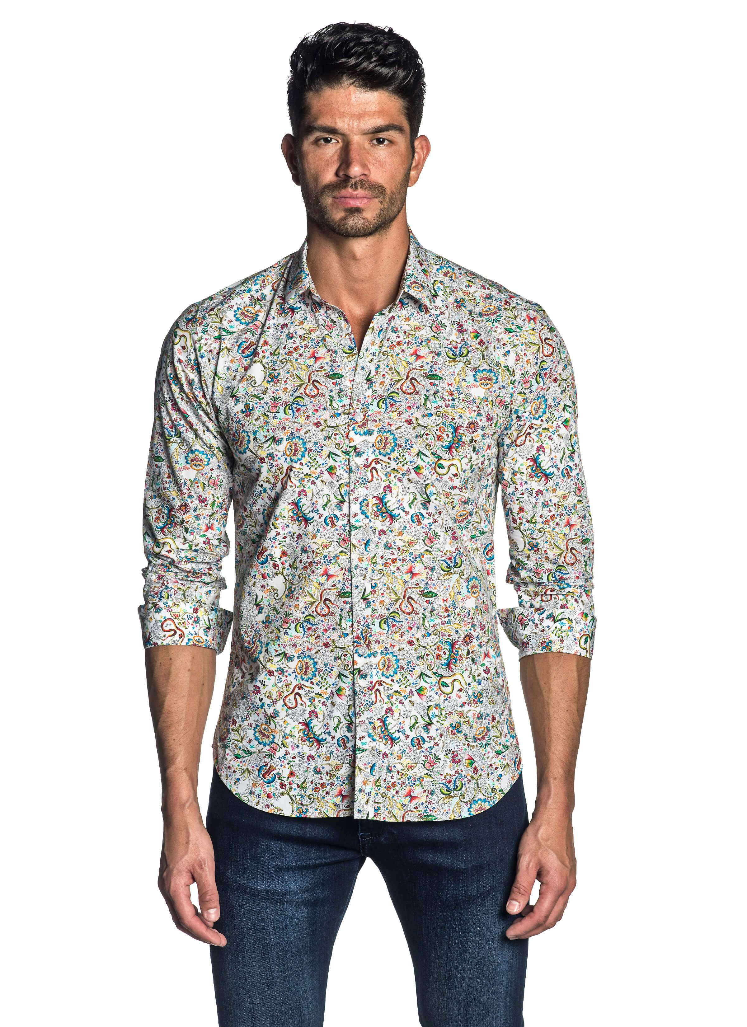 White Multi-colored Floral Degrade Shirt - front AH-T-7063
