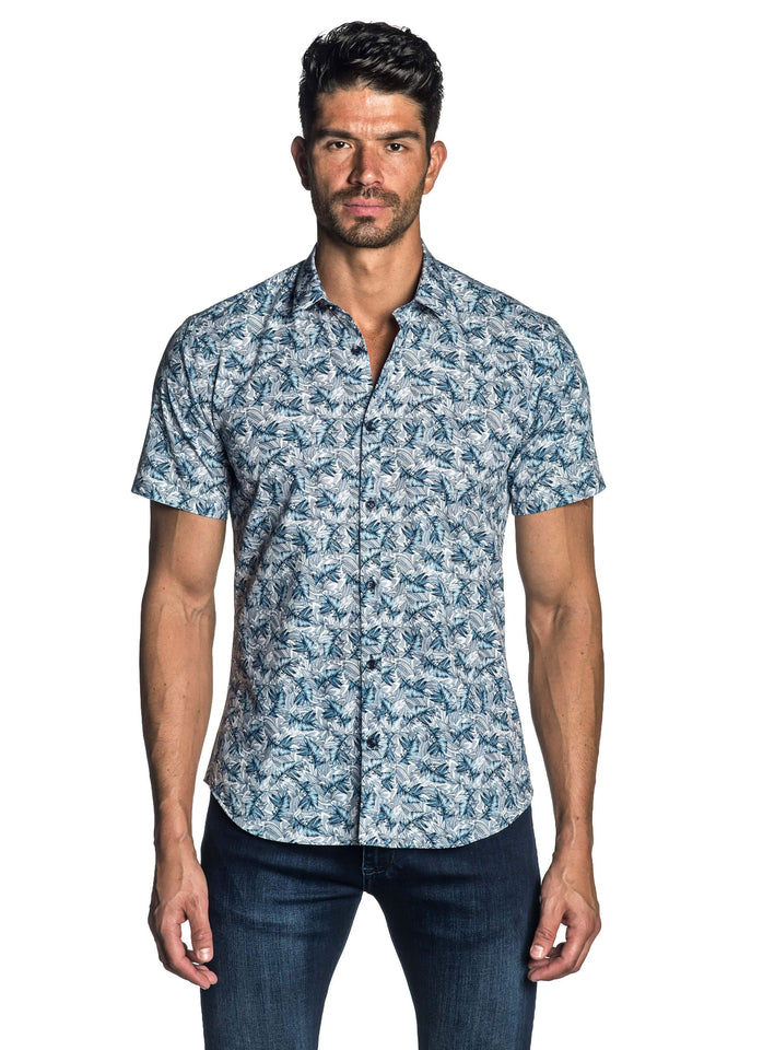 White and Blue Floral Short Sleeve Shirt for Men - front AH-T-7116-SS - Jared Lang
