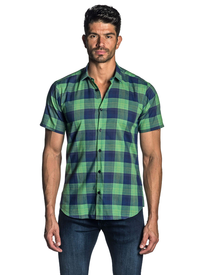 Navy and Green Plaid Short Sleeve Shirt for Men - front AH-T-7127-SS - Jared Lang