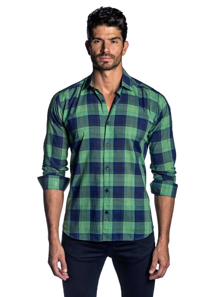 Navy and Green Plaid Shirt for Men - front AH-T-7127 - Jared Lang