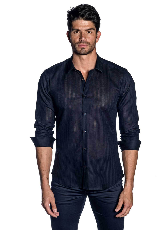 Navy Stripe Shirt for Men -front AH-T-712 - Jared Lang
