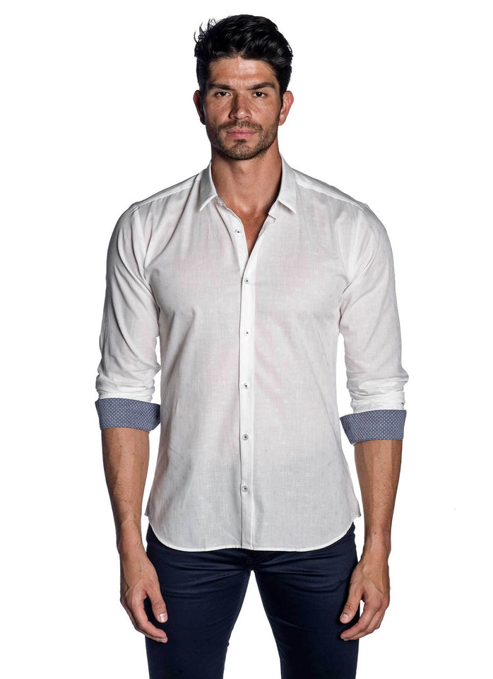 White Jacquard Shirt for Men AH-T-729 - Jared Lang