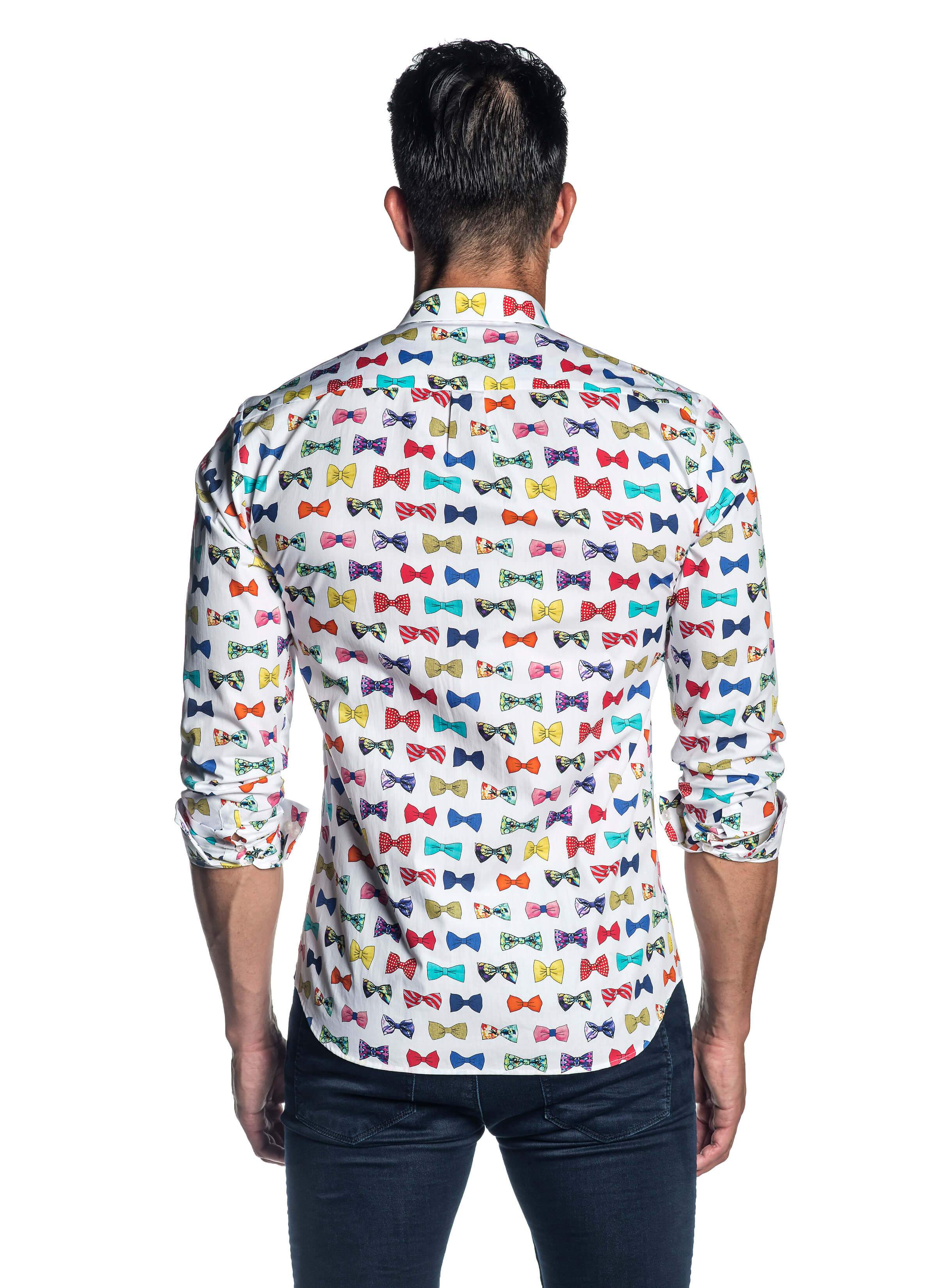 White Bow Tie Pattern Long Sleeve Shirt for Men - Back - AH-T-741