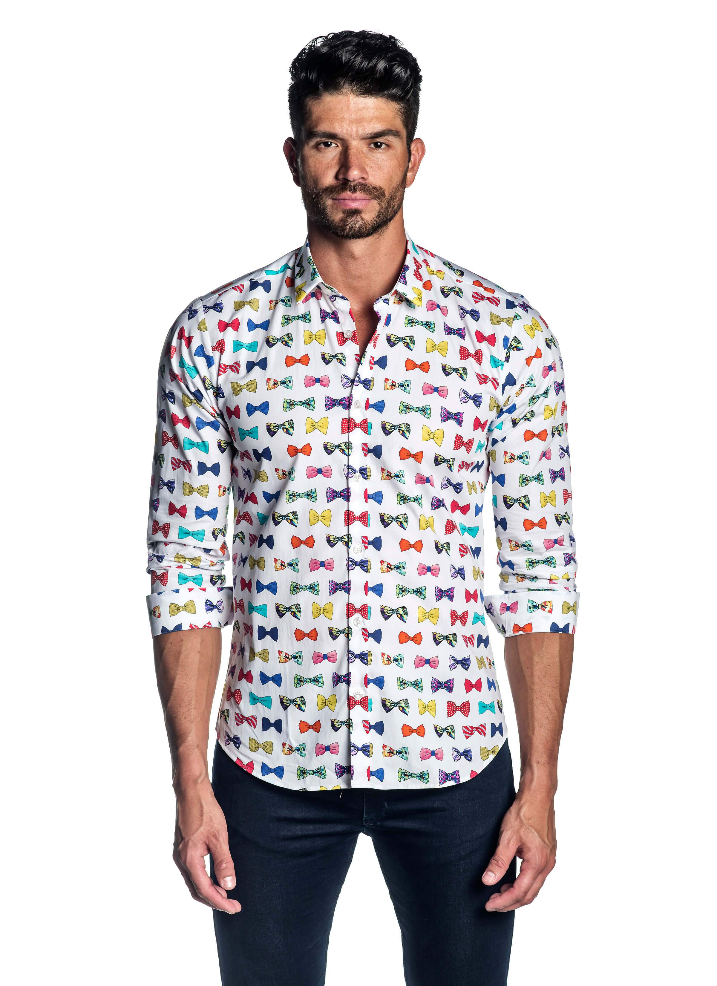 White Bow Tie Pattern Long Sleeve Shirt for Men - Front - AH-T-741