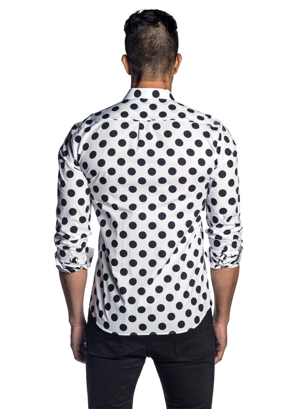 White and Black Polka Dot Print Shirt for Men AH-T-743 - Back - Jared Lang