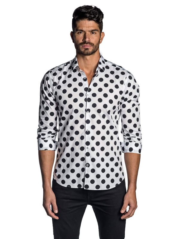 White and Black Polka Dot Print Shirt for Men AH-T-743 - Front - Jared Lang