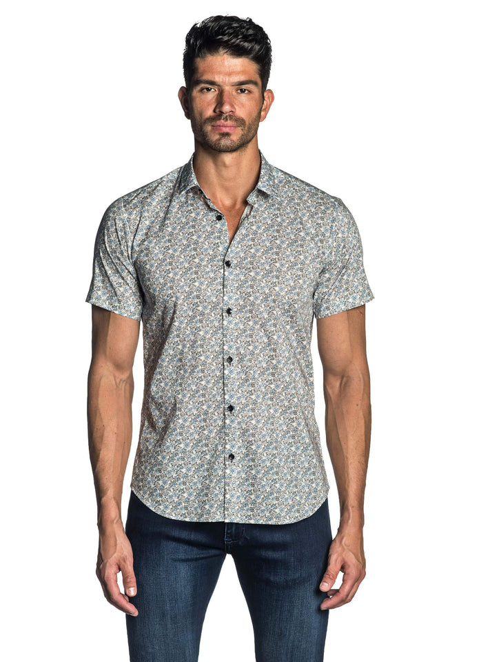 White Floral Short Sleeve Shirt for Men - front AH-T-7801-SS - Jared Lang