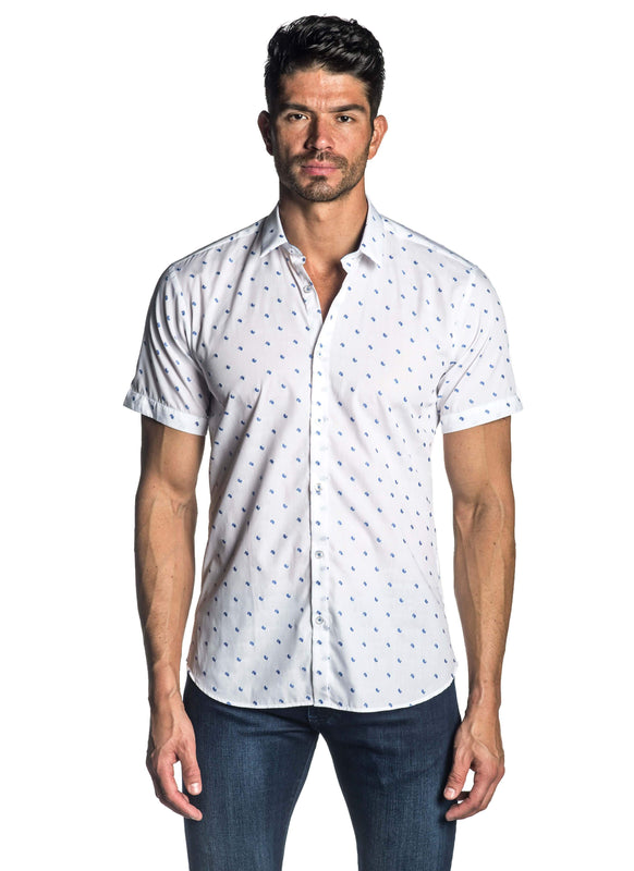 White Fil Coupe Short Sleeve Shirt for Men AH-T-7803-SS - Front - Jared Lang
