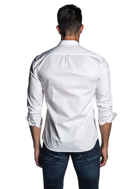 White Jacquard Shirt for Men AH-T-7804 - Back - Jared Lang