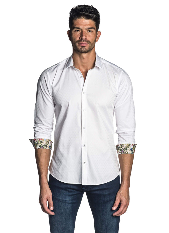 White Jacquard Shirt for Men AH-T-7804 - Front - Jared Lang