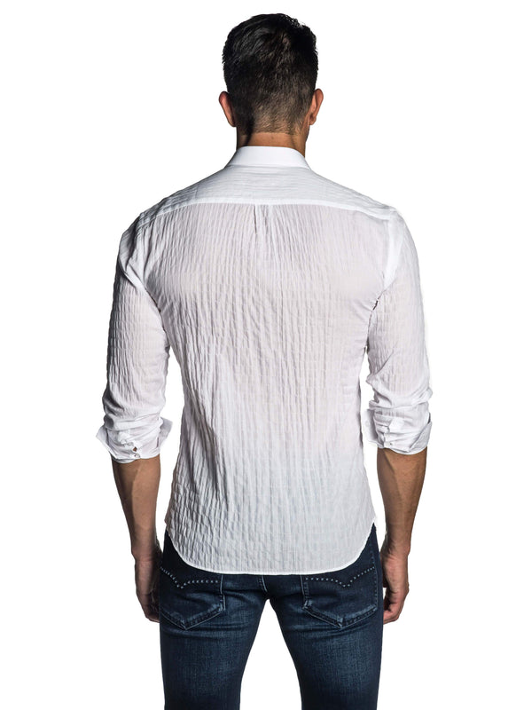 White Seersucker Shirt for Men AH-T-7810 - Back - Jared Lang