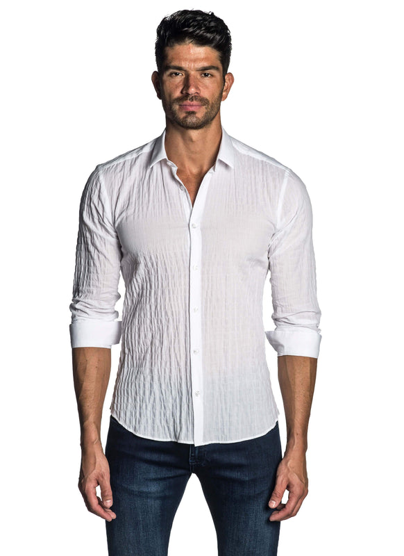 White Seersucker Shirt for Men AH-T-7810 - Front - Jared Lang