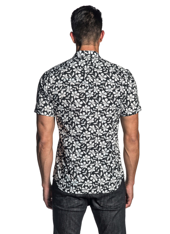 Black Floral Short Sleeve Shirt for Men AH-T-7811-SS - Jared Lang
