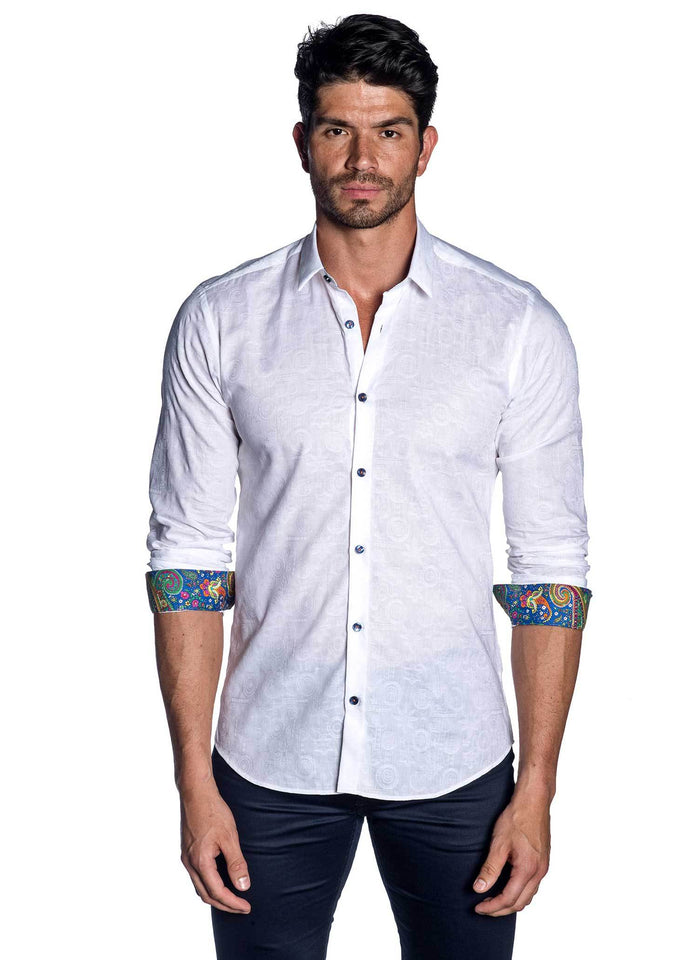 White Solid Jacquard Shirt for Men AH-T-781 - Jared Lang