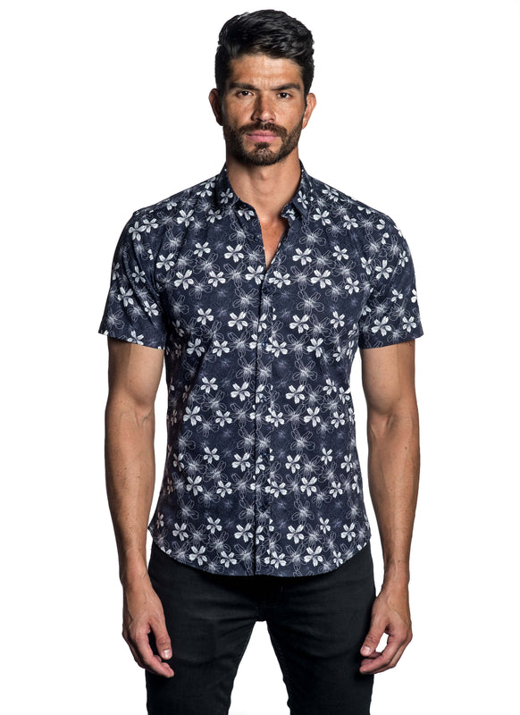 Navy Blue White Floral Printed Short Sleeve Shirt - front AH-T-783SS