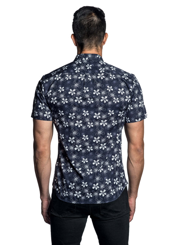 Navy Blue White Floral Printed Short Sleeve Shirt AH-T-783-SS