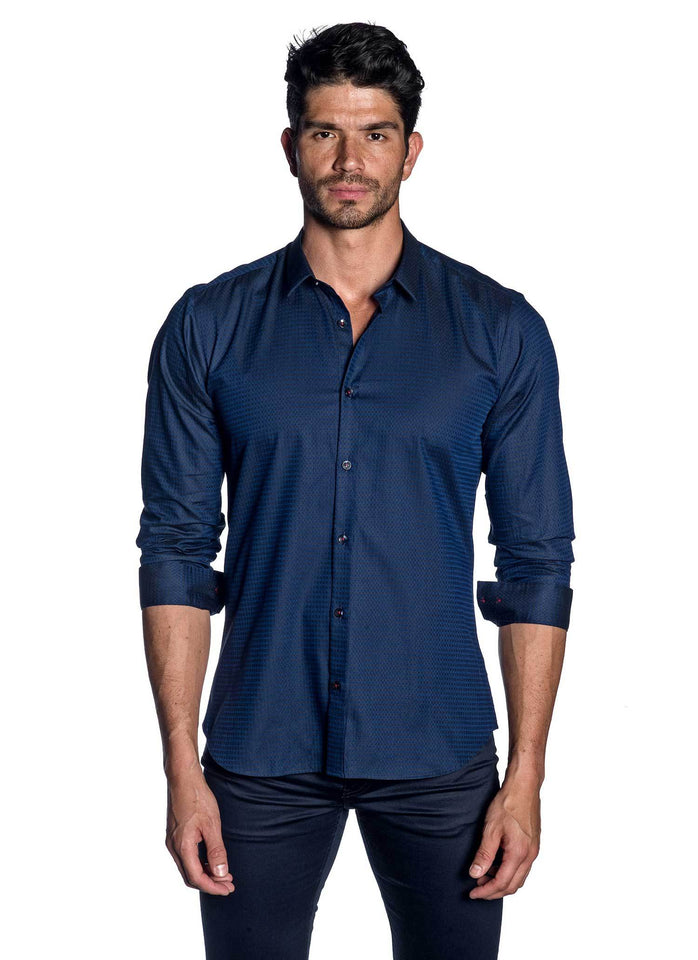 Navy Blue Jacquard Shirt for Men AH-T-787 - Jared Lang
