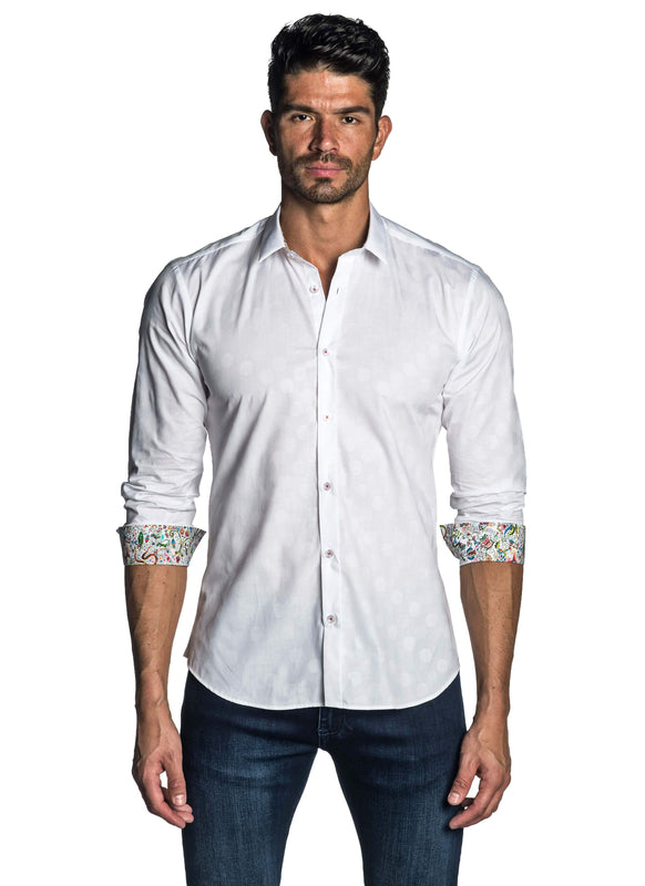 White Jacquard Shirt for Men AH-T-7999 - Jared Lang