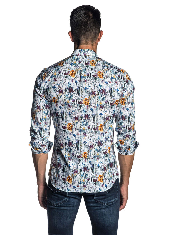 White, Purple and Yellow Floral Long Sleeve Shirt for Men AH-T-809 - Back - Jared Lang