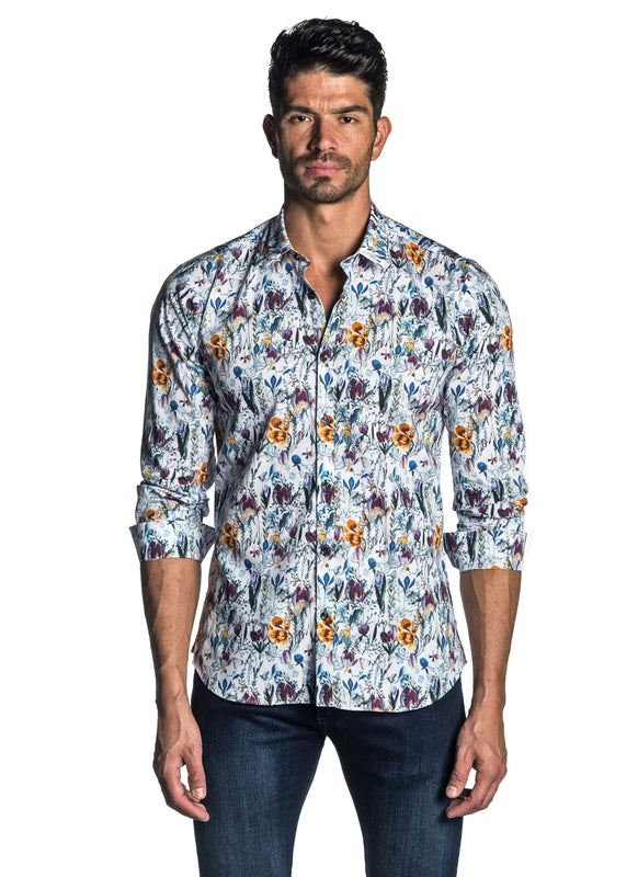 White, Purple and Yellow Floral Long Sleeve Shirt for Men AH-T-809 - Front - Jared Lang