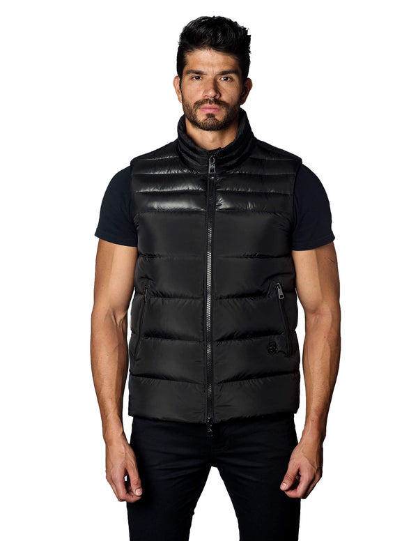 Black Down Quilted Vest - Front Aspn 1A - Jared Lang