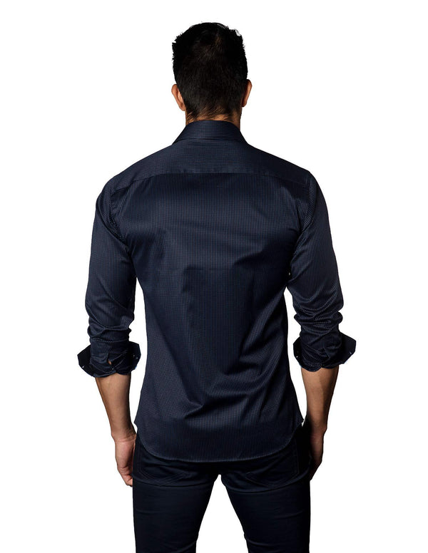 Navy Jacquard Shirt for Men - back B-3037- Jared Lang