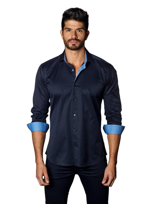 Navy Jacquard Shirt for Men - front B-3037- Jared Lang