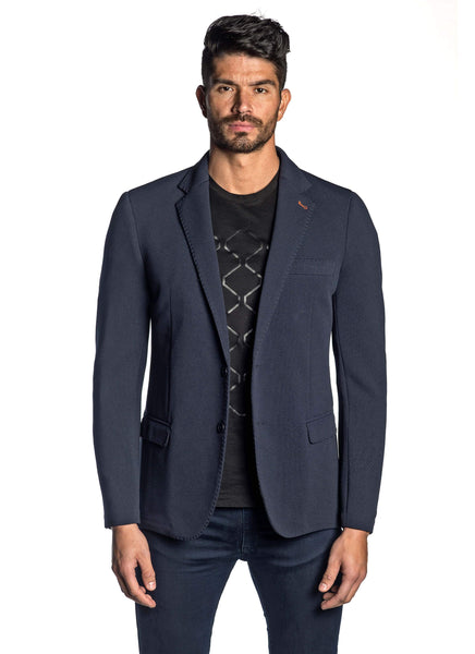 Navy Blue Textured Knit Blazer for Men BAG-410 - Jared Lang