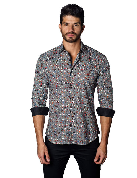 White and Black Multicolor Skull Print Shirt for Men - front C-3019 - Jared Lang