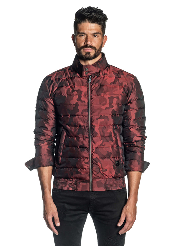 Red Camouflage Down Jacket for Men Chicago 1B - Front Buttoned - Jared Lang