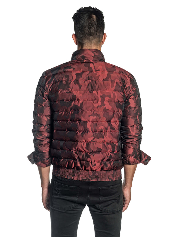 Red Camouflage Down Jacket for Men Chicago 1B - Back - Jared Lang