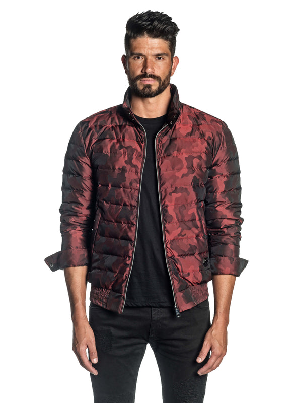 Red Camouflage Down Jacket for Men Chicago 1B - Front Unbuttoned - Jared Lang