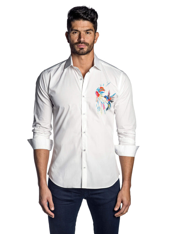 White and Multicolor Bird Print Shirt for Men T-7124 - Front - Jared Lang