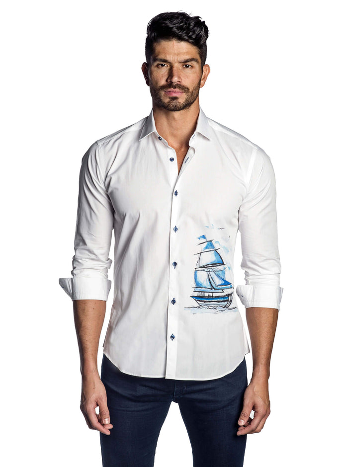 White and Blue Sailboat Yachting Print Shirt for Men - front T-7144 - Jared Lang