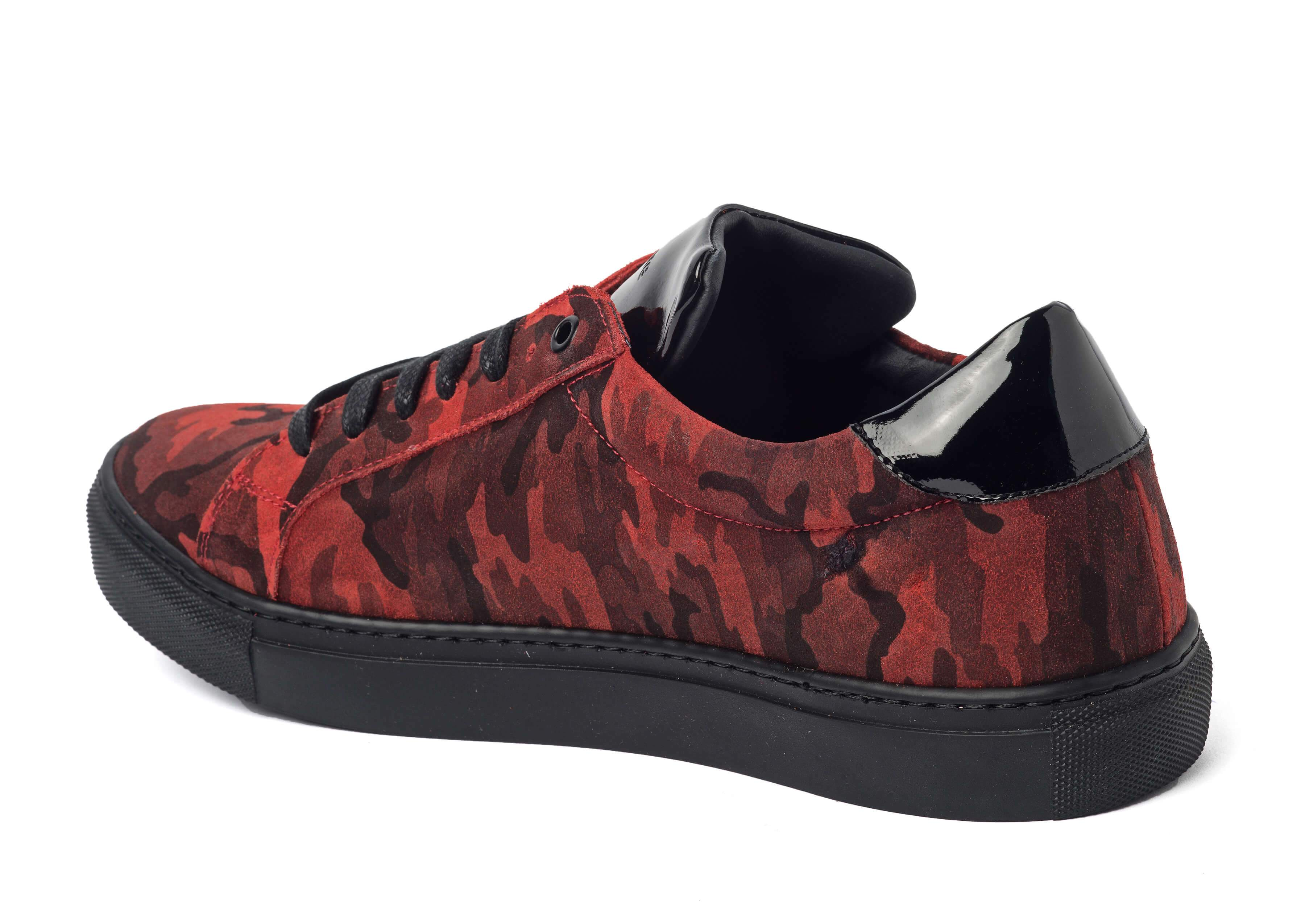 Red Camouflage Sneakers for Men 2828-RC - left - Jared Lang